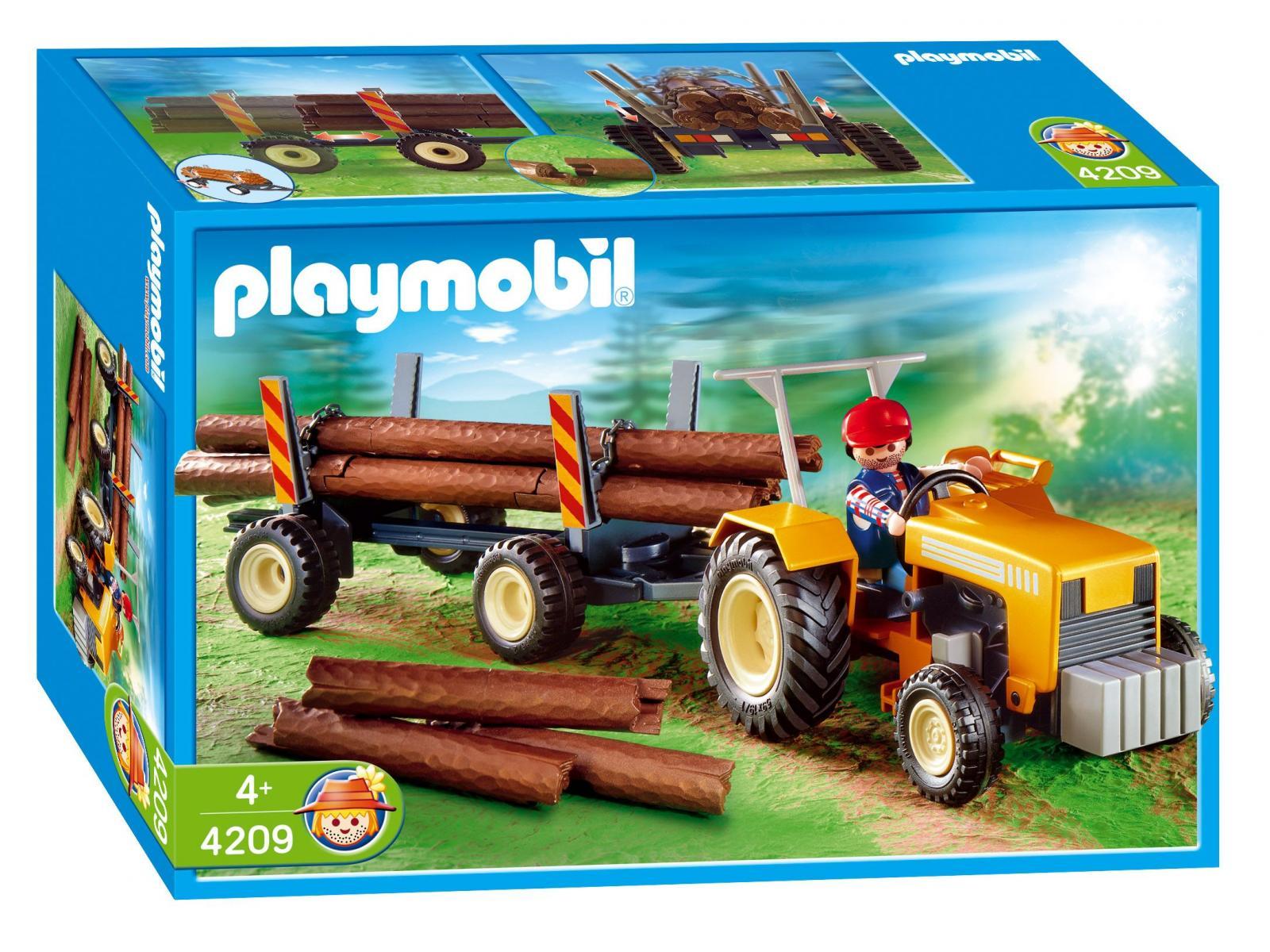 PLAYMOBIL - 4209 - Bûcheron / troncs d'arbres / tracteur