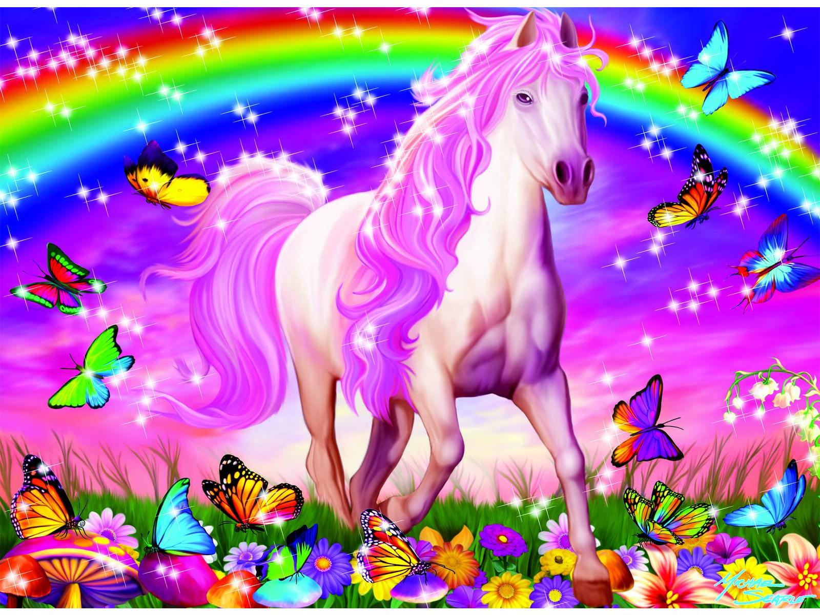 Puzzle 100 pi  232 ces XXL paillet  233 s  R  234 ve de cheval Ravensburger  R  233 f    Unicorns And Rainbows Wallpaper