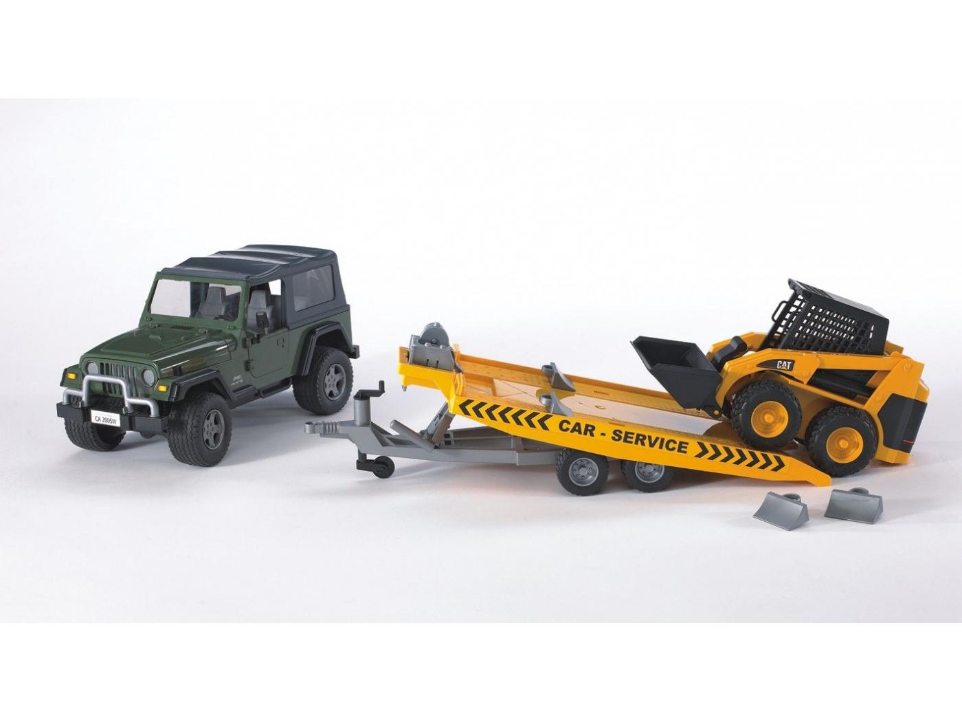 Jeep wrangler unlimited w car carring trailer a cat skid steer loader